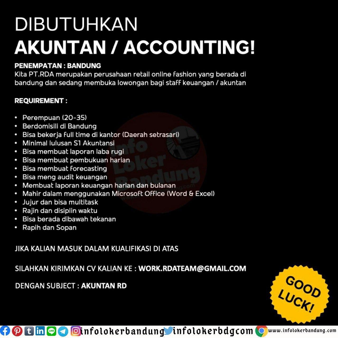 Lowongan Kerja Akuntan Accounting Pt Rda Bandung Juni 2020 Info Loker Bandung 2021