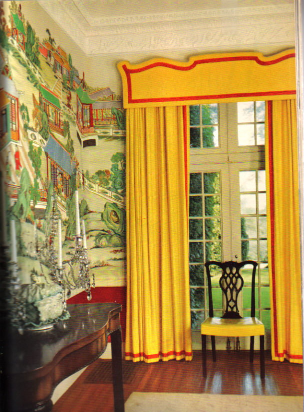Here Is An Exquisite Red And Yellow Chinoiserie Dining Room Billy Baldwin Designed In The 1950s