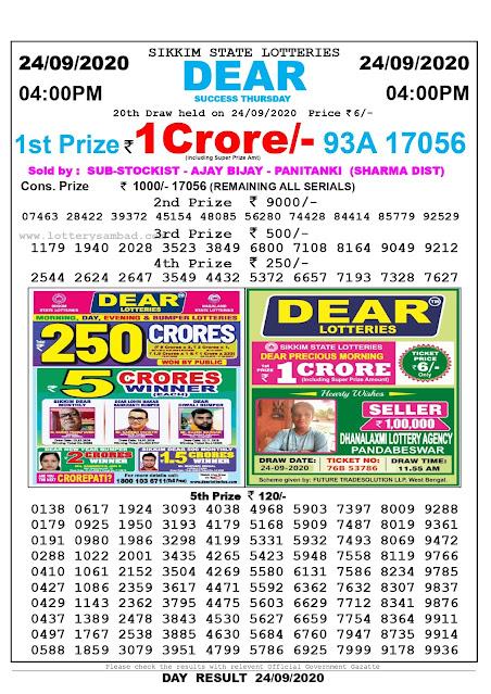 Lottery Sambad Result 24.09.2020 Dear Success Thursday 4:00 pm