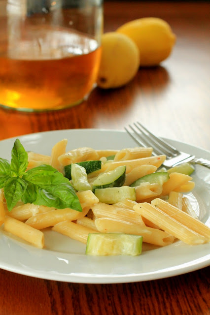 Pasta with lemon, zucchini and basil from terristeffes.com; photo used with permission