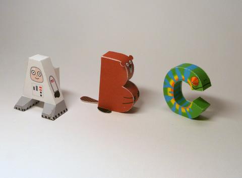 alphabet-papercraft-3  D Paper Letter Templates on printable box, cut out,
