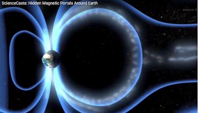 Imagen de la tierra y fuerzas magneticas que rodean al planeta