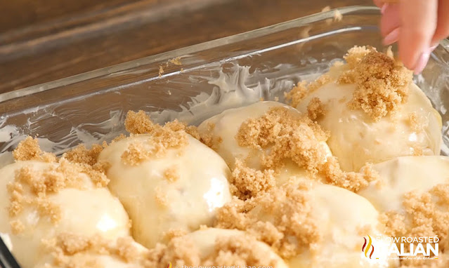 Caramel Apple Pie Bombs sprinkled with brown sugar