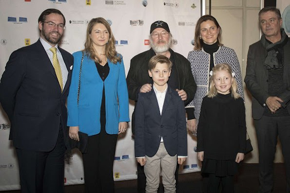 """Prince Guillaume and  PrincessStephanie attended the premiere of the film """"Rusty Boys"""" at the Utopolis Kirchberg in Luxembourg. Stephanie wore Prada dress, and Aquamarine gold earrings"""