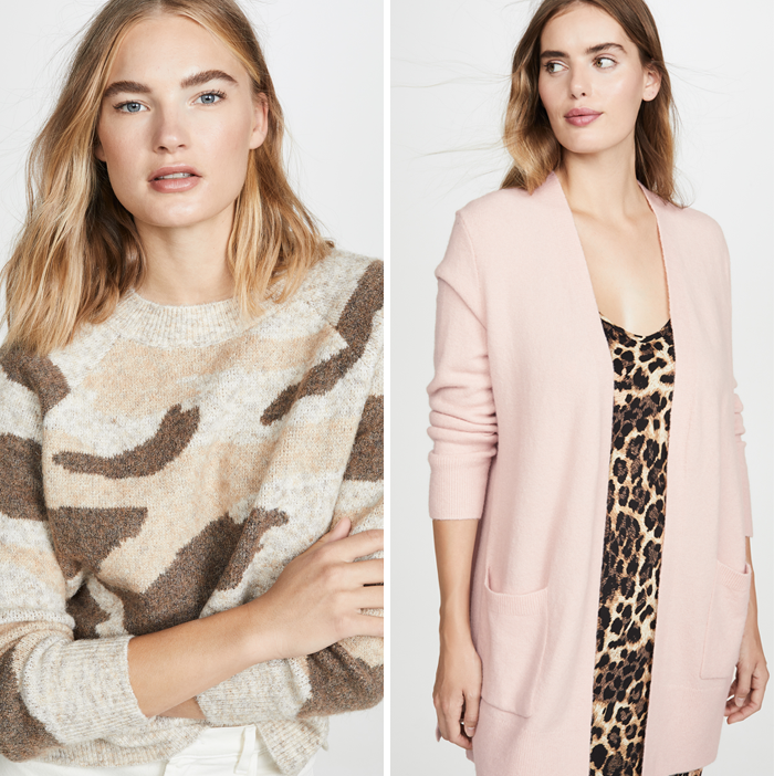 DNA camo sweater pink madewell cardigan shopbop sale