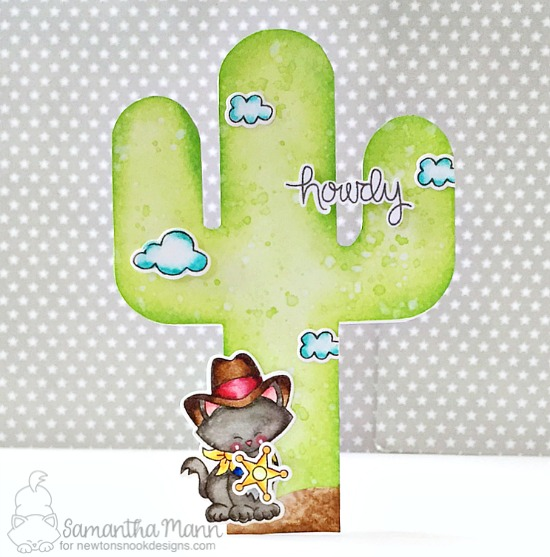 Howdy! Cactus card by Samantha Mann | Newton Rides West | Cat Cowboy Western Stamp Set by Newton's Nook Designs #newtonsnook