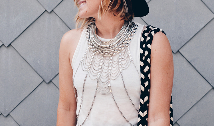 Nastygal statement body chain necklace