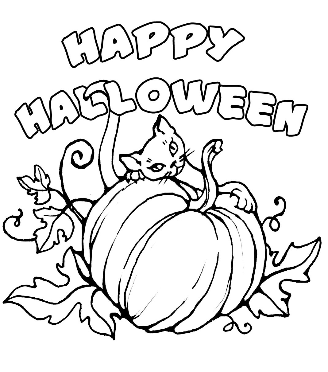 √ Free happy halloween coloring pages template for print
