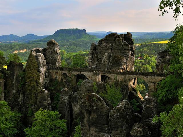 The Bastei Bridge in The Elbe Sandstone Mountains, Germany
