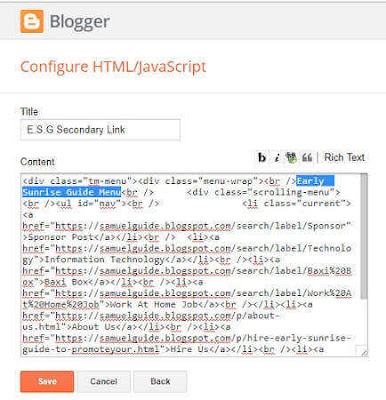 Adding Link Through the Java/HTML