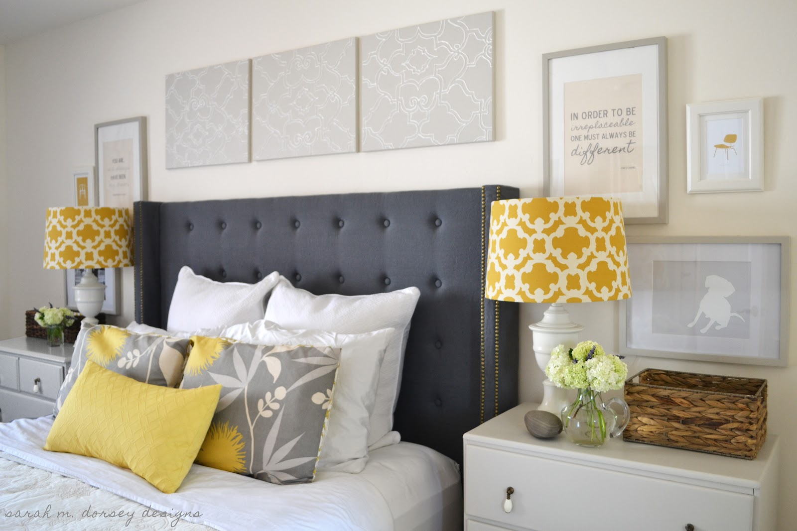 Grey White Yellow Bedroom Diy Tufted Headboard With Wings And Nailhead Trim