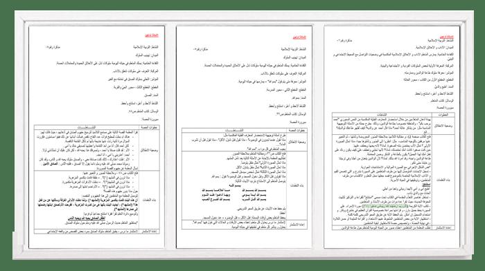 مذكرات في التربية الإسلامية إعداد أم لجين للسنة الأولى ابتدائي
