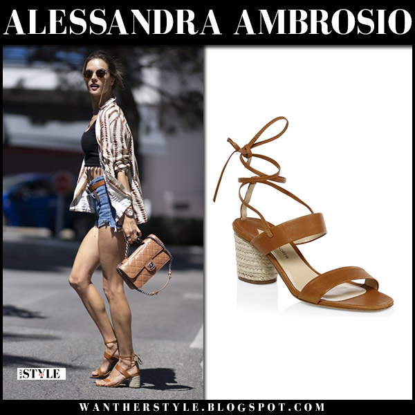 Alessandra Ambrosio in brown leather strappy sandals paul andrew myer model style may 15