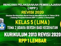 RPP 1 Lembar Kelas 5 Tema 2 SD/MI Kurikulum 2013 Revisi 2020 Tahun Pelajaran 2020 - 2021