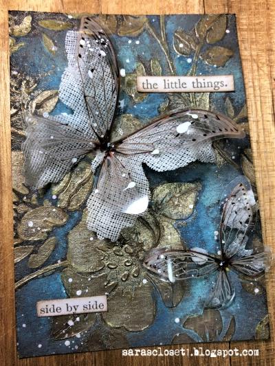 Sara Emily Barker https://sarascloset1.blogspot.com/ Mixed Media ATC with Tim Holtz Stencils, Oxides and Transparent Wings 1