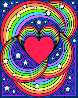 Rainbow heart- with a blank version to color