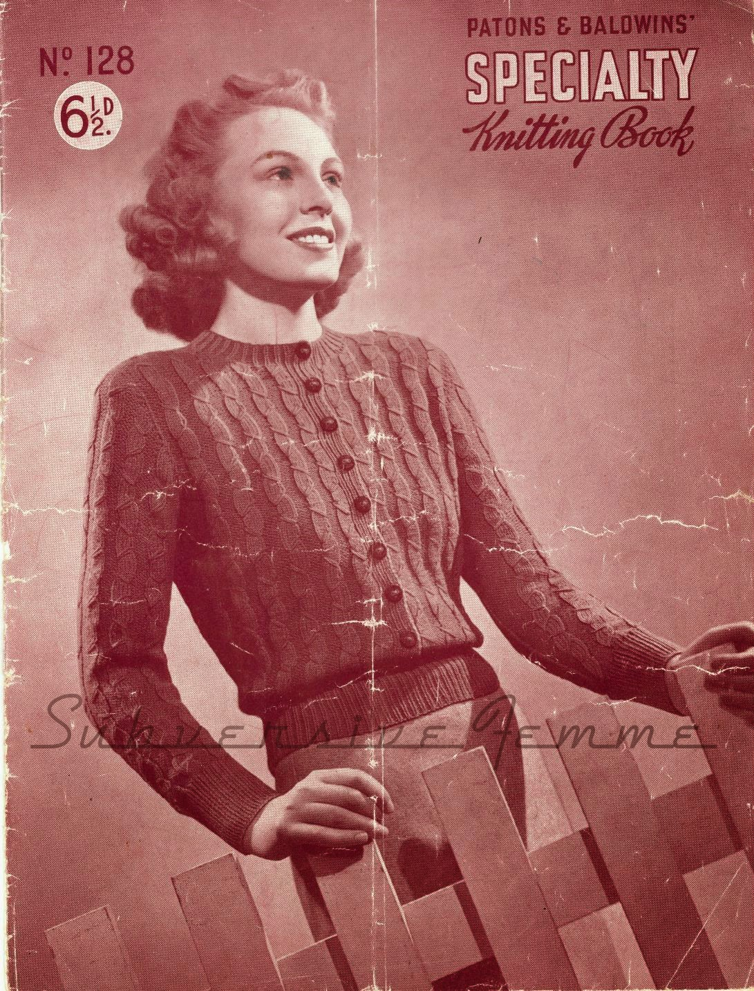 The Vintage Pattern Files: 1940s Knitting - Aileen, A Jumper-Cardigan