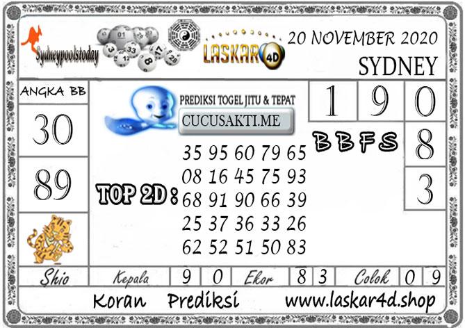 Prediksi Togel SYDNEY LASKAR4D 20 NOVEMBER 2020