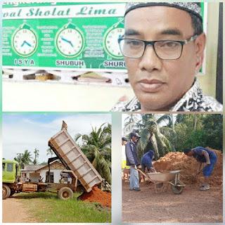 Masyarakat Dusun ll kampong Teluk megkerang  Bergotong Royong Bangun Tempat Parkir mesjid Nurus Sholat Desa pantai Harapan.