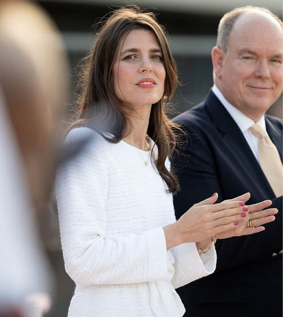 Charlotte Casiraghi of Monaco wore a white tweed top and tweed skirt from Cruise 2021 collection of Chanel