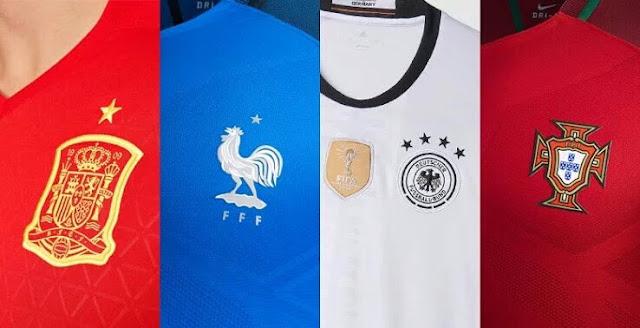 Os uniformes das 24 seleções da Euro 2016