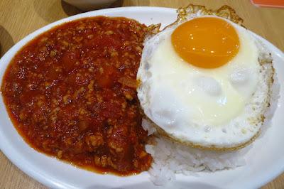 So Good Char Chan Tang, rice bolognese fried egg