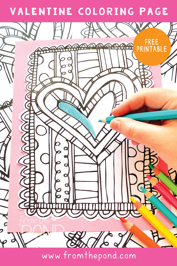 From The Pond: FREE Scrappy Valentine's Day Coloring Page