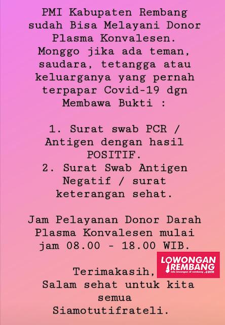 Kabar Baik, PMI Kabupaten Rembang  Sudah Bisa Melayani Donor Plasma Konvalesen