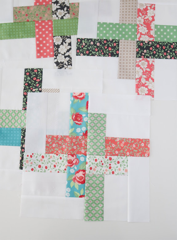 Hello Washi baby size quilt made with Bloomington Fabric - by Andy of A Bright Corner - perfect charm pack or jelly roll quilt with four sizes
