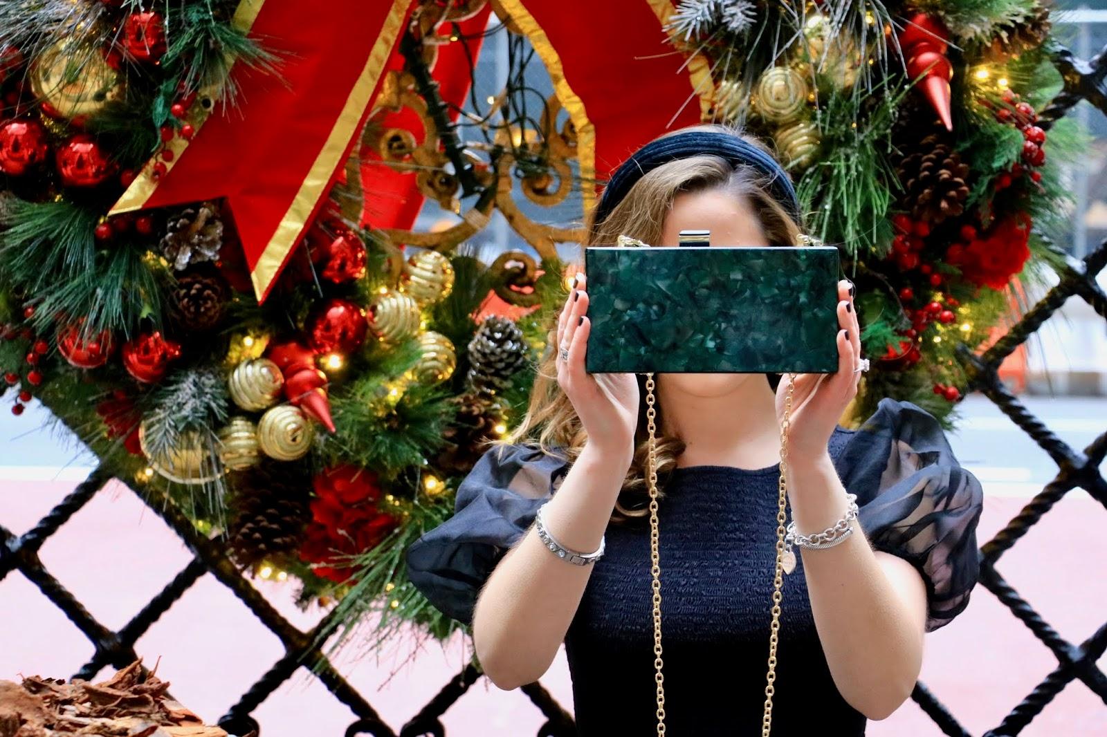 Nyc fashion blogger Kathleen Harper's green plastic box purse.