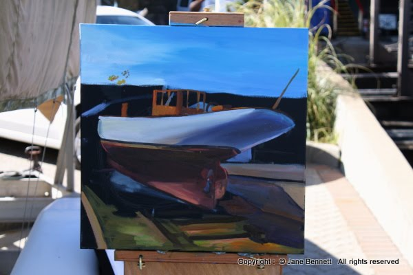 oil  painting by artist Jane Bennett of Sydney Heritage Fleet boat 'Boomerang'  Noakes Shipyard, Berry's Bay