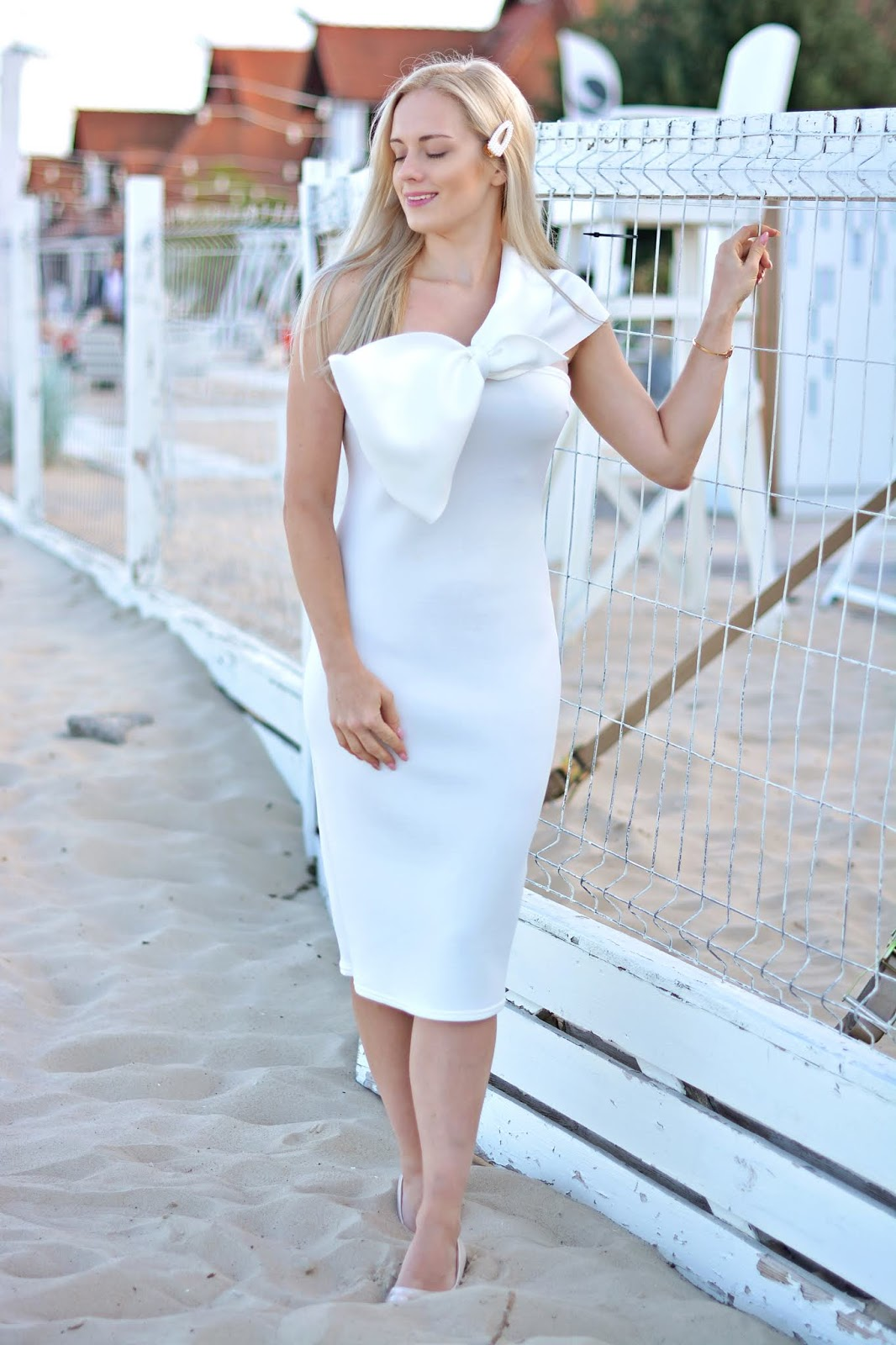 White Bow One Shoulder Midi Dress