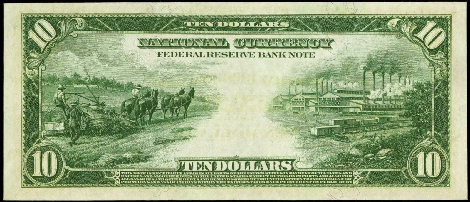 1915 Ten Dollar Bill Federal Reserve Bank Note