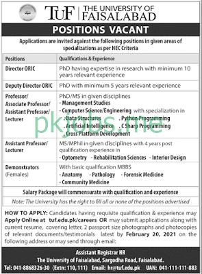Latest The University of Faisalabad Posts 2021