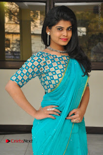 Telugu Actress Alekhya Stills in Green Saree at Swachh Hyderabad Cricket Press Meet  0020.JPG