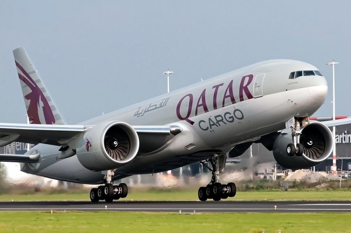 Qatar Cargo Boeing 777F Freighter Rotating Takeoff