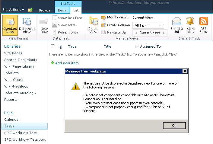 The list cannot be displayed in Datasheet view for one ore more of the following reasons - SharePoint Datasheet Error