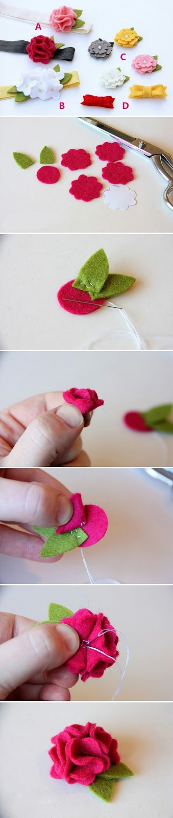 Felt flower tutorials for hair accessories