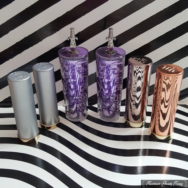 selection of Urban Decay lipsticks packaging over the years