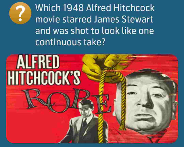 Which 1948 Alfred Hitchcock movie starred James Stewart and was shot to look like one continuous take?