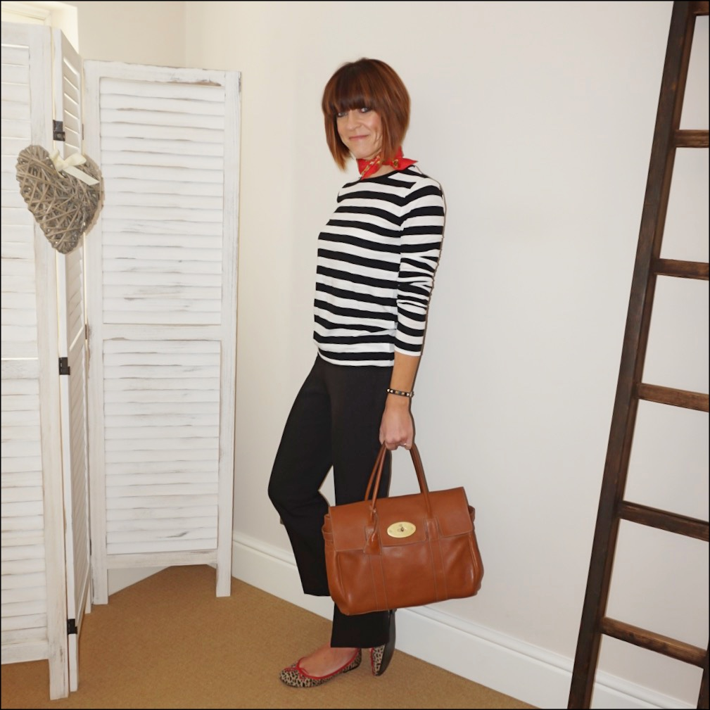 my midlife fashion, hermes neck tie scarf, raey stripe crew neck long sleeve t shirt, mulberry bayswater, whistles kickflare trousers, french sole india animal calf hair ballet pumps