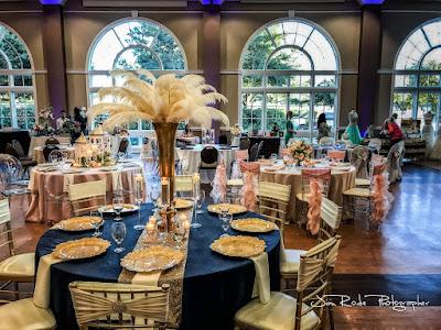 Reception table decor at the Colleyville Center ballroom