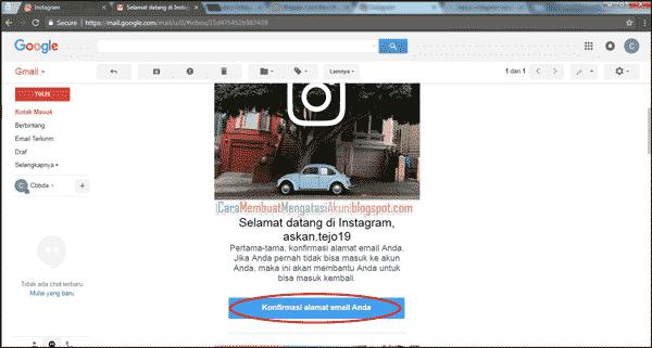 buat akun instagram lewat google - cara konfirmasi email ig