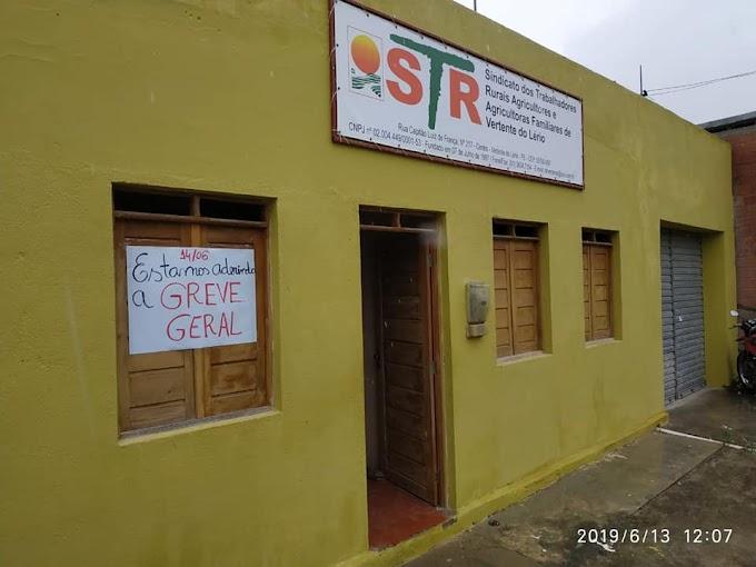 STR de Vertente do Lério fechará as portas nesta sexta-feira, em adesão a Greve Geral.