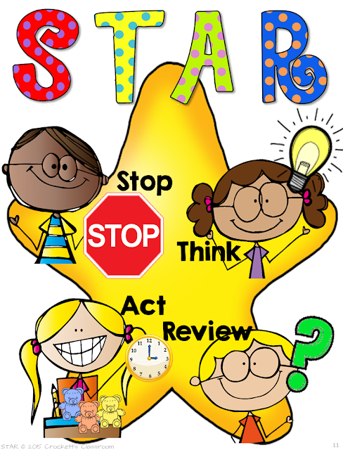 STAR free page to help students learn problem solving steps.  Stop, Think, Act and Review