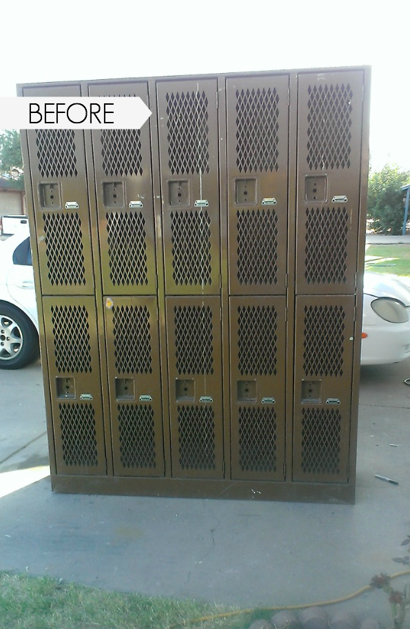 refinishing lockers, painting lockers, locker makeover, revamped lockers, adding lockers to a space, lockers for a boys room, lockers for a mud room