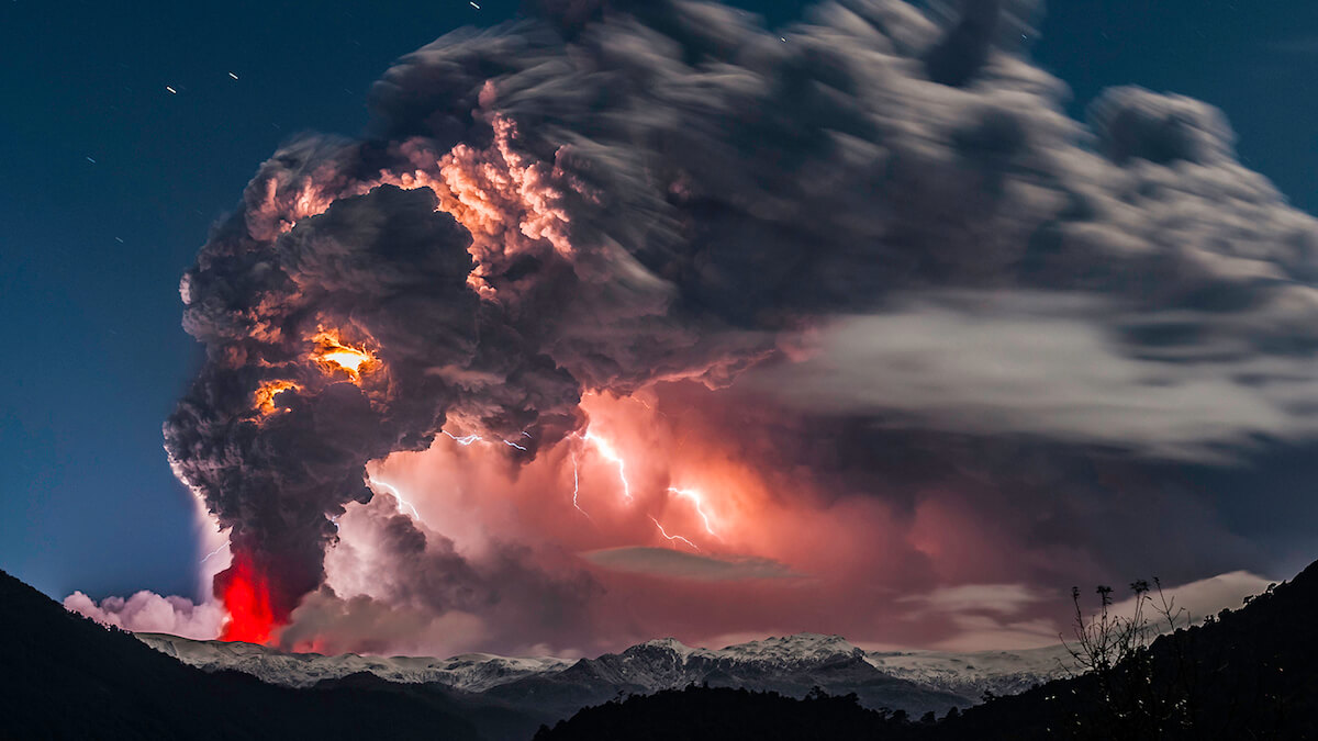 Stunning Pictures Capture Lightning Storms Over Volcano Eruptions