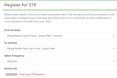How To Start STP in PPFAS Mutual Fund