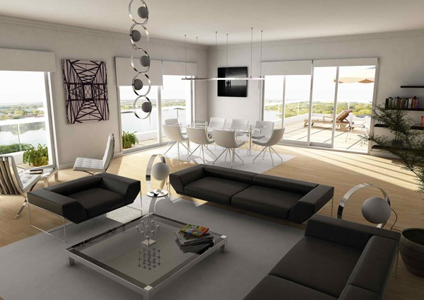 Fabulous white living room interior with black sofa and mounted black tv