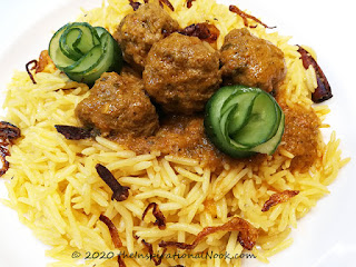 Ball curry, coconut rice, kofta curry, mince meat ball curry